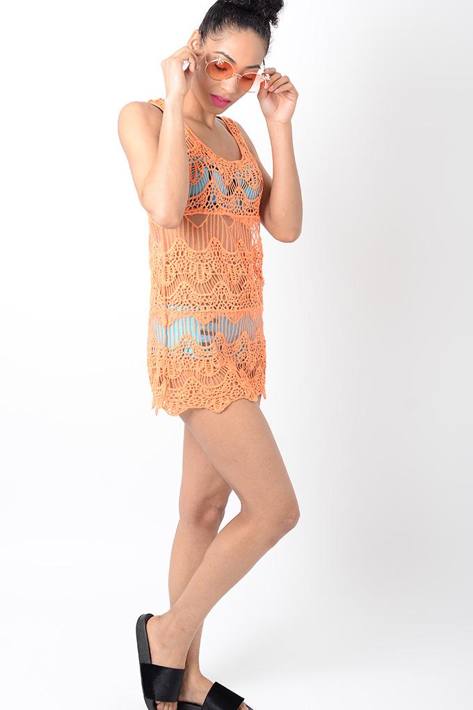 459a1f7fe7688 Stylish Orange Crochet Beach Cover Up | Stylish Dresses, Beachwear