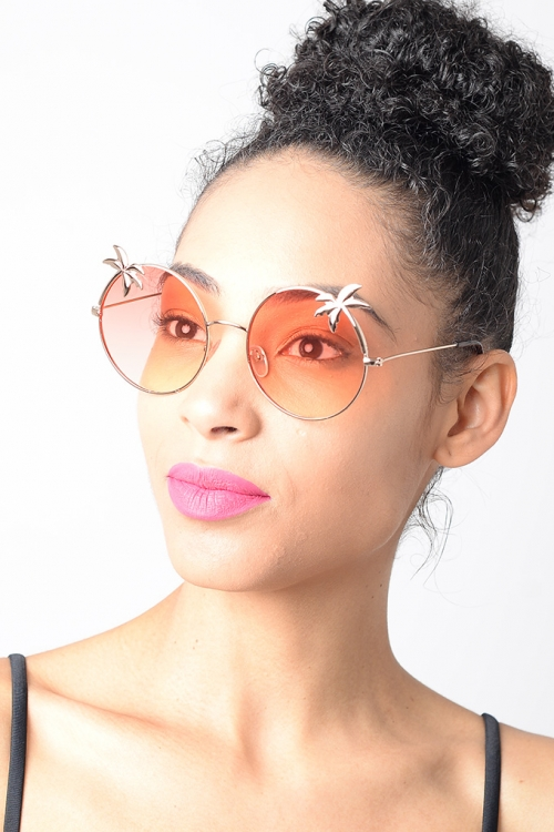 Stylish Orange Lens Round Sunglasses