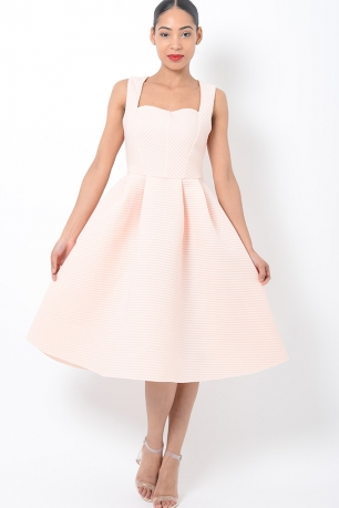 Stylish Peach Midi Skater Dress