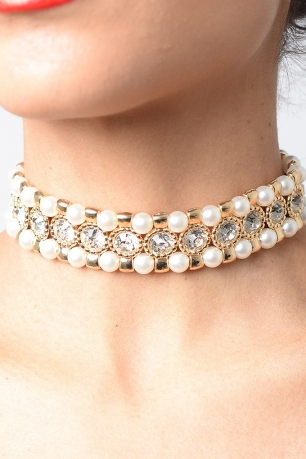 Stylish Pearl Diamond Choker