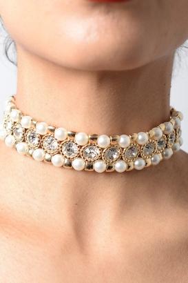 Stylish Pearl Diamond Choker