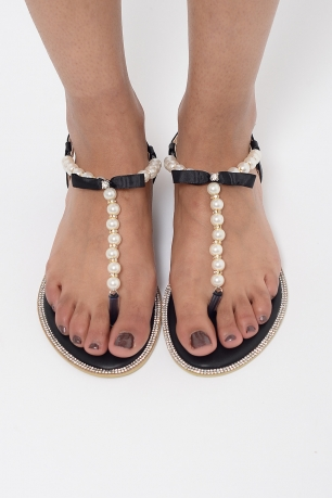 Stylish Pearl T-Bar Sandals