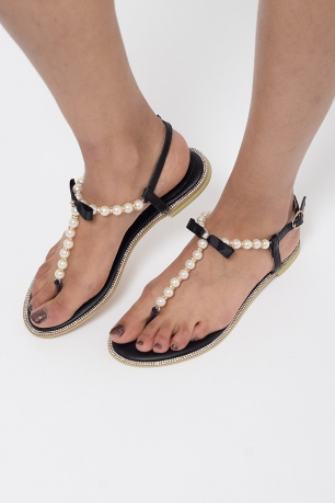 Stylish Pearl T-Bar Sandals