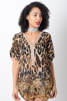 Stylish Pink Animal Print Kaftan