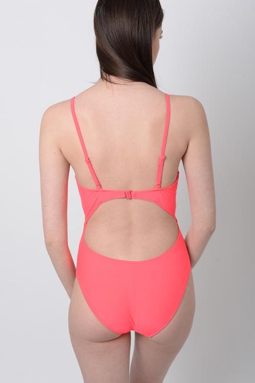 Stylish Pink Cut Out Swimsuit