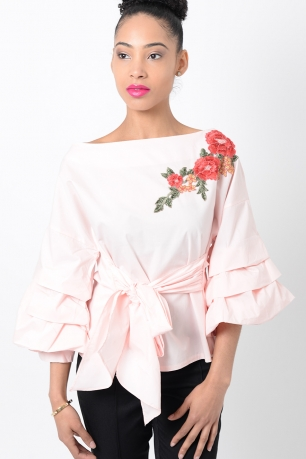 Stylish Pink Embroidered Ruffle Sleeve Top