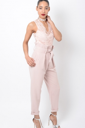 Stylish Pink High Waisted Peg Trousers