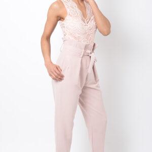 Stylish Pink High Waisted Peg Trousers