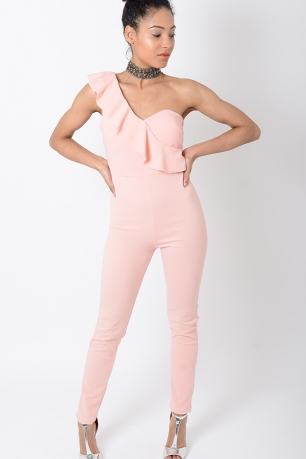 Stylish Pink One Shoulder Jumpsuit