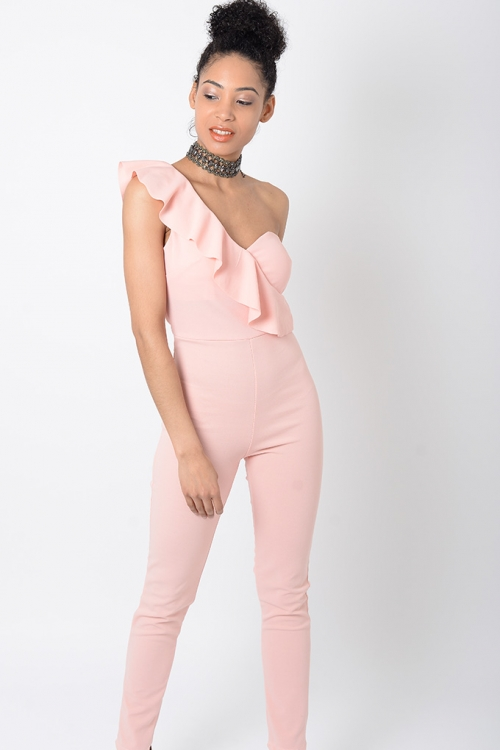 Stylish Pink One Shoulder Jumpsuit