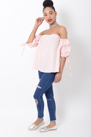 Stylish Pink Ruffle Sleeve Bardot Top