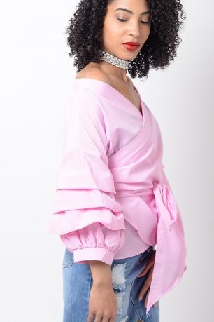 Stylish Pink Ruffle Sleeve Wrap Top