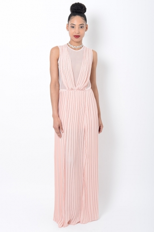 Stylish Pleated Maxi Dress