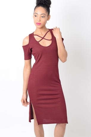 Stylish Red Cold Shoulder Ribbed Dress