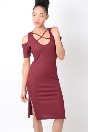 Stylish Red Cold Shoulder Ribbed Dress