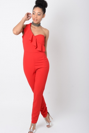 Stylish Red One Shoulder Jumpsuit