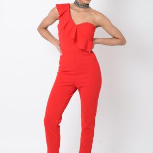 Stylish Red One Shoulder Jumpsuit