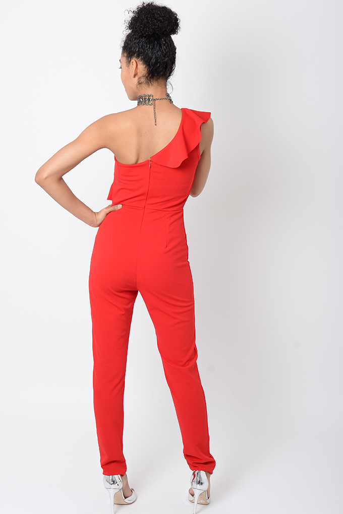 e79505e6146a Stylish Red One Shoulder Jumpsuit