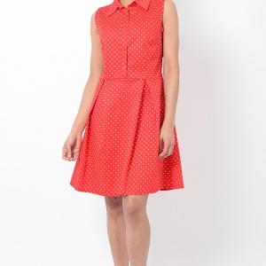 Stylish Red Skater Dress