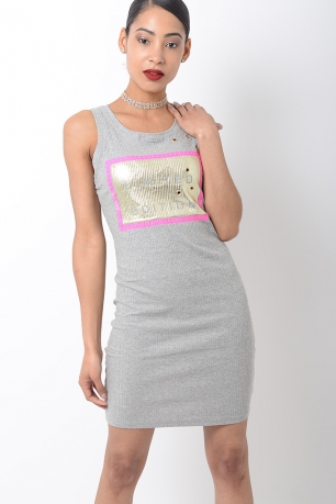 Stylish Ribbed Grey Bodycon Dress