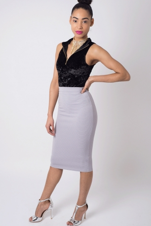 Stylish Ribbed Midi Pencil Skirt