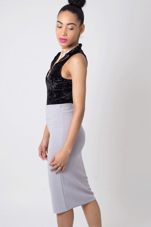 Stylish Ribbed Midi Pencil Skirt