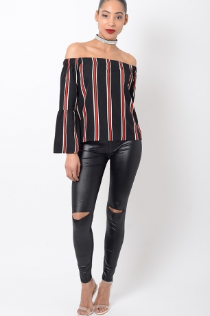 Stylish Ripped Knee Leather Look Leggings