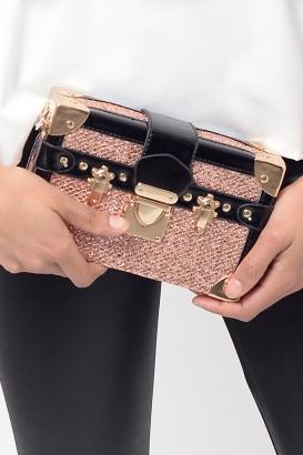 Stylish Rose Gold Clutch Bag