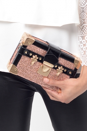 Stylish Rose Gold Clutch Bag