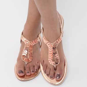 Stylish Rose Gold T-Bar Sandals