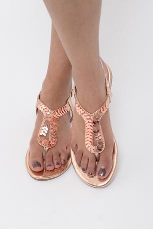 176a1f4506de Stylish Rose Gold T-Bar Sandals