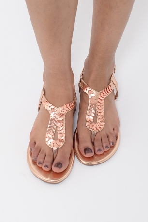 Stylish Rose Gold T-Bar Sandals