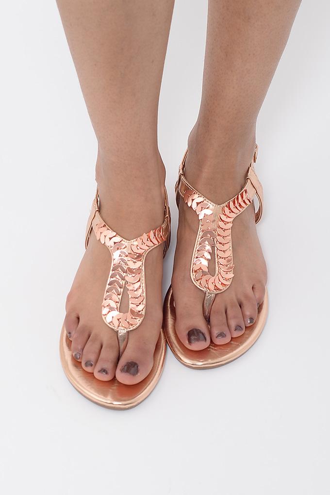 d60c320488b6 Stylish Rose Gold T-Bar Sandals