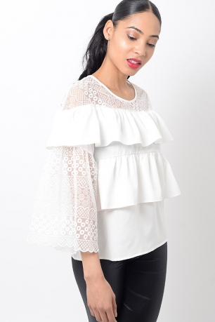 Stylish Ruffle White Top