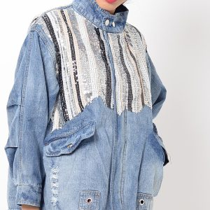Stylish Sequin Oversized Denim Jacket