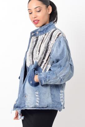 Stylish Sequin Oversized Denim Jacket