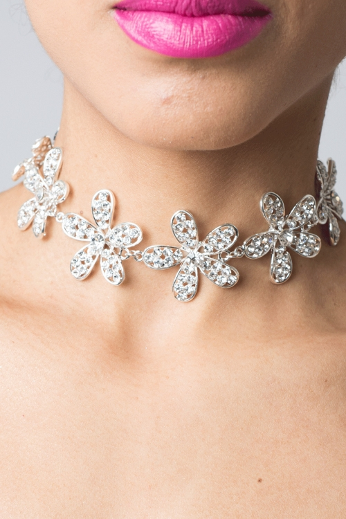 Stylish Silver Diamond Choker Necklace