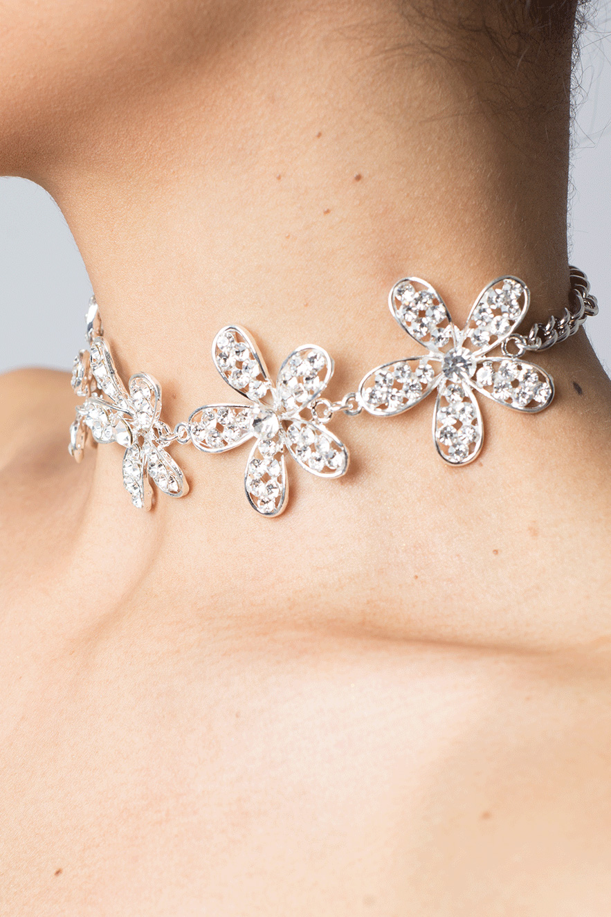Stylish Silver Diamond Choker Necklace Diamond Choker