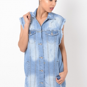 Stylish Sleeveless Distressed Denim Jacket