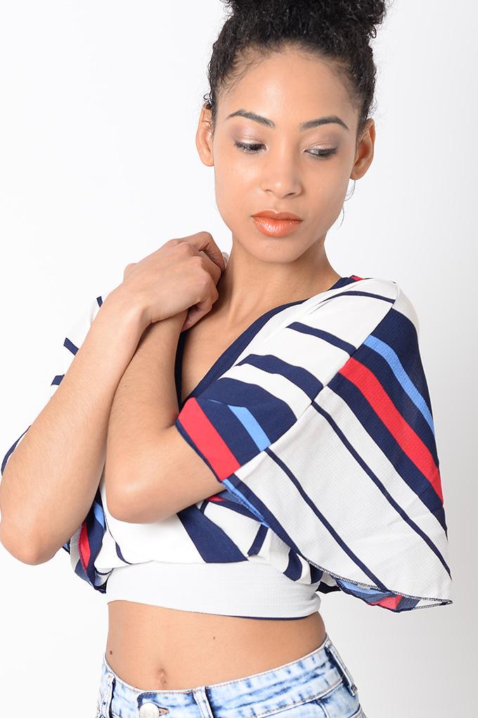4198e6477f5 Stylish Striped Crop Top | Stylish Tops, Wrap Top, Crop Top,