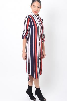 Stylish Striped Shirt Dress