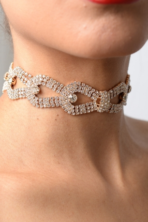Stylish Stud Detail Diamond Choker