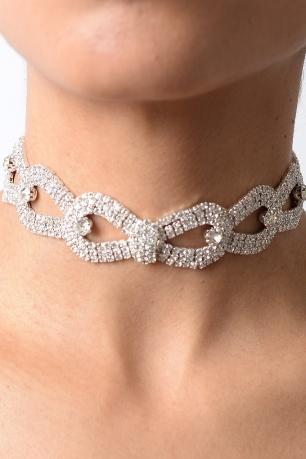 Stylish Stud Detail Diamond Choker