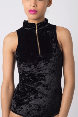 Stylish Velvet High Neck Bodysuit