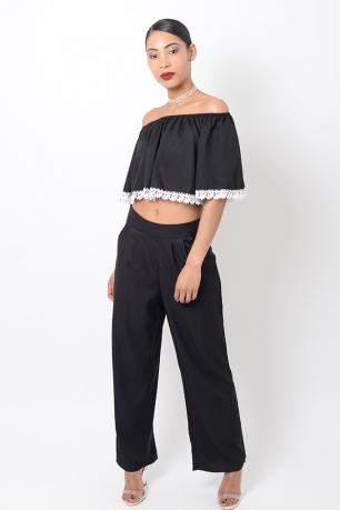 Stylish Two Piece Black Co Ord Set