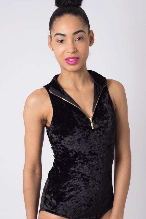 Stylish Velvet High Neck Bodysuit
