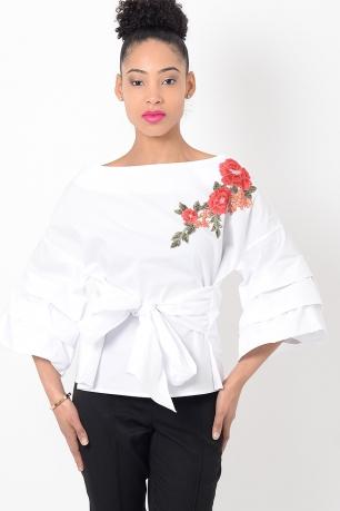 Stylish White Embroidered Ruffle Sleeve Top
