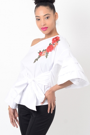 Stylish White Embroidered Ruffle Sleeve Top