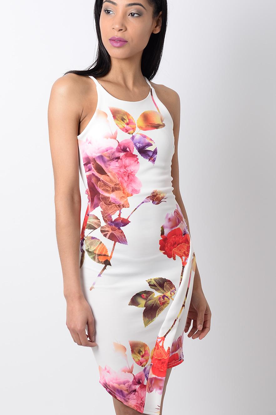 Stylish White Floral Print Bodycon Dress Stylish Bodycon