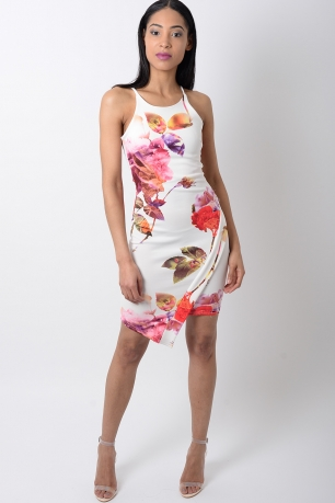 Stylish White Floral Print Bodycon Dress